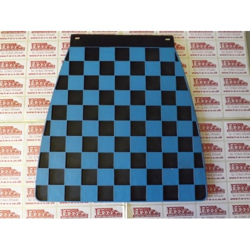 MUDFLAP BLACK AND LIGHT BLUE CHECK 60's style