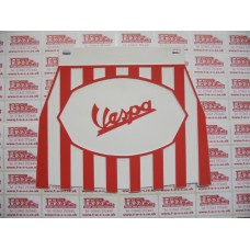 VESPA LOGO ON STRIPED MUDFLAP WHITE AND RED