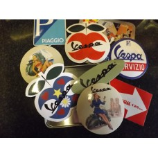 VESPA 8 PCE STICKER SET IN TIN