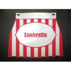LAMBRETTA LOGO MUDFLAP RED & WHITE STRIPES