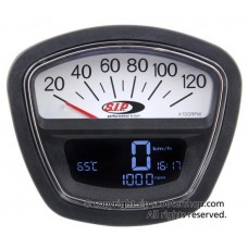 SIP SPEEDO REV COUNTER  GP & S3 BLACK WITH WHITE DIAL